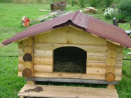 будка для собаки рубленая из бревна